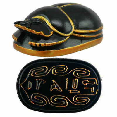 """Ancient Egyptian Black and Gold Scarab Small 3"""" Long Figurine Gift Collectible"""