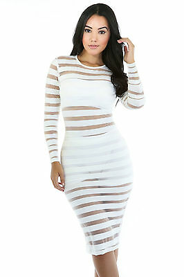 Abito cono aperto nudo trasparente aderente Midi Striped Bodycon Club Dress