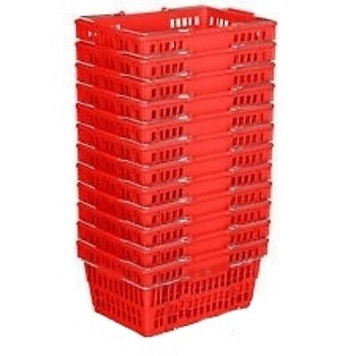 NEW 12 Standard Shopping Baskets - Chrome Handles -- Red