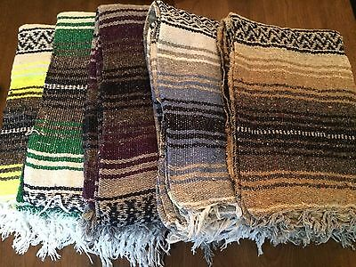 5 Pack - Mexican Falsa Throw Blankets * Yoga * New - Made in Mexico Serapes