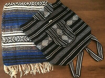 Mexican Falsa Throw Blanket * Yoga *  Royal Blue w/ Carry Backpack *Hand Woven*