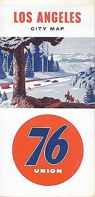 1960 UNION 76 Road Map LOS ANGELES California Route 66 Pasadena Freeway Alhambra