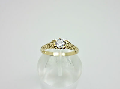 Vintage 1987 English 9ct Yellow Gold Cubic Zirconia CZ Solitaire Ring Size N