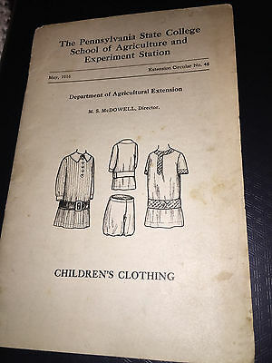 1916 Pennsylvania State College School Of Agriculture Making Children's Cloths