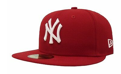 New Era 59Fifty Cap MLB New York Yankees Mens Womens Scarlet Red Fitted  5950 Hat b3265aa6bcf2
