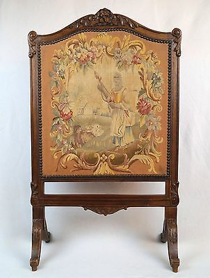19th Century French Needlepoint Tapestry Fire Screen GORGEOUS