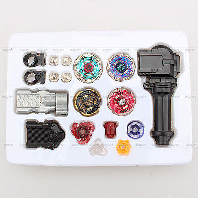 4x Kreisel Beyblade Metal Fusion + 1x Launcher Rotate Rapidity Master Fight Set