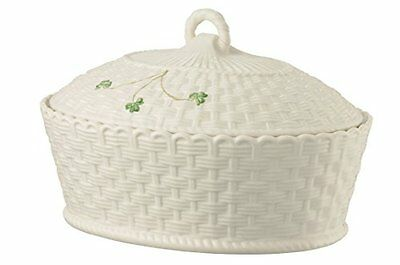 Belleek Pottery 1325 Shamrock Oval Covered Dish, 47-Ounce, White, New, Free Ship