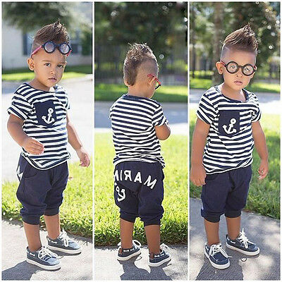 Fashion Kids Baby Boys 2Pcs Set Summer Outfits Striped Anchor Tops +Marine Pants
