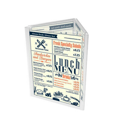3 Sided 8.5x11 Acrylic Sign Holder Triangle Tabletop Literature Menu Display