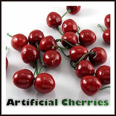Artificial Fake Plastic Cherry Fruit Food Party Table Decorative Cherries Bowl