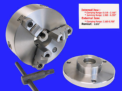 "6"" 3-jaw Reversible jaw Chuck with 1-1/2 x 8 Adapter"
