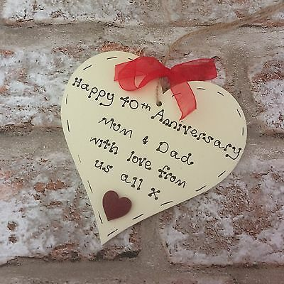 Personalised 40thruby Wedding Anniversary wooden heart gift present for parents