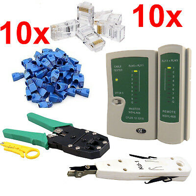 RJ45 Cat5e 6 Network Ethernet LAN Cable Tester Punch Down Crimping Tool Kit Lot