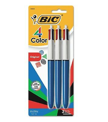 BIC 4-Color Ballpoint Retractable Pen Assorted Ink Medium 3 Pack - New Item