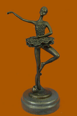Handcrafted Detail Ballerina with Tutu Bronze Sculpture Signed Original Milo