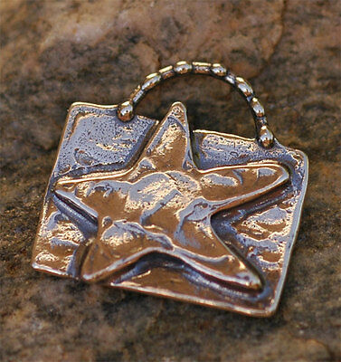 Artisan Star on Rectangle Pendant or Charm in Sterling Silver -146
