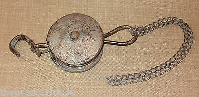 NEW~Nautical Style Pulley Block Hook & Chain Aged Copper Verdigris Wall Decor