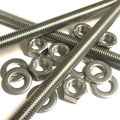 M3 A2 Stainless Steel Threaded Bar - Rod Studding 3mm + Full Nuts + Washers