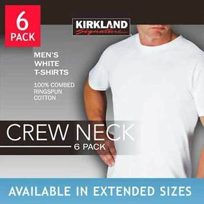 Kirkland Signature Men's Crew Neck Tee Shirt 6-pack White (Size Small to 4XL)