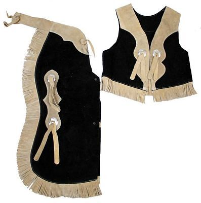 Kids Size Suede Leather Fringed Chaps & Vest Outfit BLACK/TAN Size Medium (4-6)