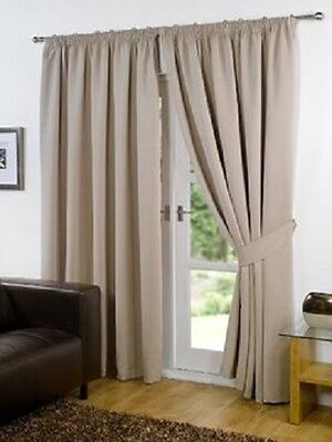"Supersoft Thermal Faux Silk Blackout Curtains with Tiebacks Biege 66"" x 54"""