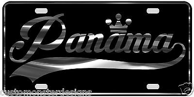 Panama License Plate All Mirror Plate & Chrome and Regular Vinyl Choices