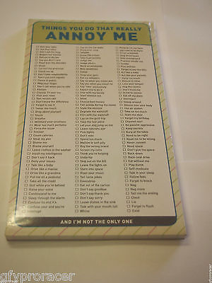 THINGS YOU DO THAT REALLY ANNOY ME checklist Paper Note Pad