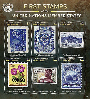 Micronesia 2015 MNH First Stamps UN United Nations Member States 6v M/S II
