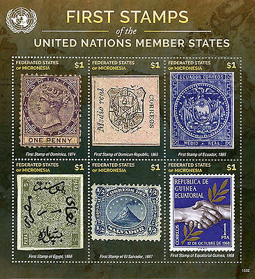 Micronesia 2015 MNH First Stamps UN United Nations Member States 6v M/S IV