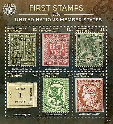 Micronesia 2015 MNH First Stamps UN United Nations Member States 6v M/S V