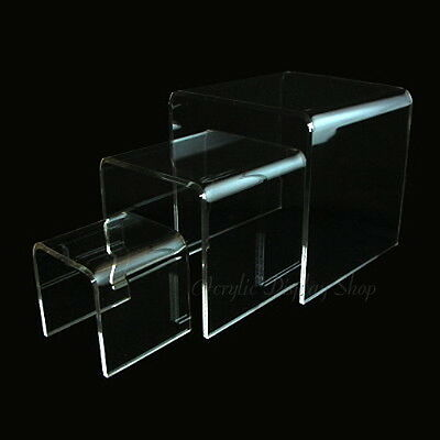 Acrylic Clear Square Riser Display Stand Set of 3 -  Small