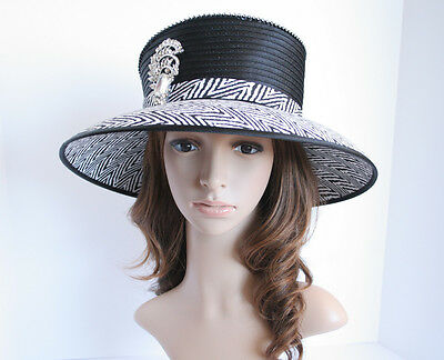 NEW Church Derby Wedding Medium Satin & Rhinestone Pin Hat Black/White