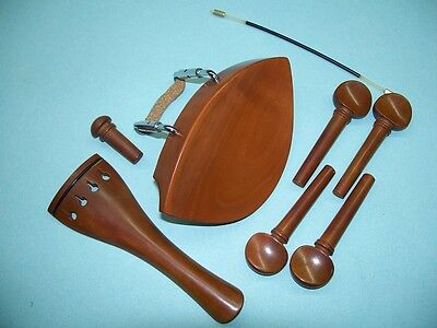 4/4 Violin Chin Rest Tail Piece End Pin Pegs and Gut Boxwood