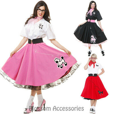 K127 Ladies 1950s Grease Poodle Rock and Roll Sock Hop Pink Ladies Dress Costume