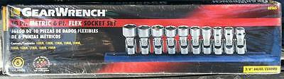 "Gearwrench 10pc 3/8"" Metric 6pt flex socket set NEW 10-19mm swivel 80565"