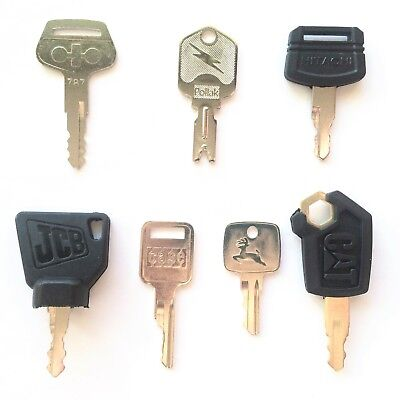 7 PC. OEM Logo Heavy Equipment Key Set CAT Case JCB Deere Hitachi Pollak Komatsu