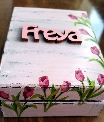 Handmade wooden personalised gift box shabby chic flowers pink, made to order