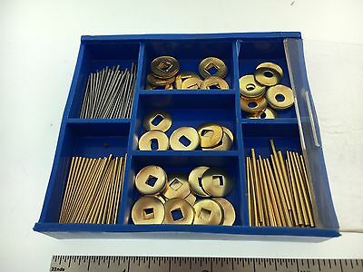 Brass and Steel Tapered Pins set plus Washers for Clocks Repair 200 Piece Set