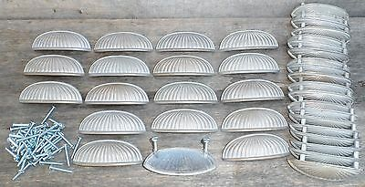 "Vintage Matte Nickel Metal 4"" wide Clam Shell Cup Drawer Bin Pulls 15 available"