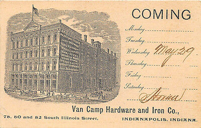 Indianapolis IN Van Camp Hardware & Iron Co. Pioneer 1895 Postal Card
