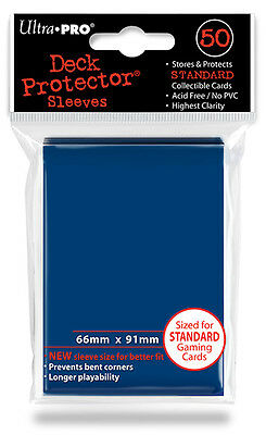 50ct Metallic Blue Deck Protector Sleeves Pokemon MTG Card Ultra Pro 66 x 91mm