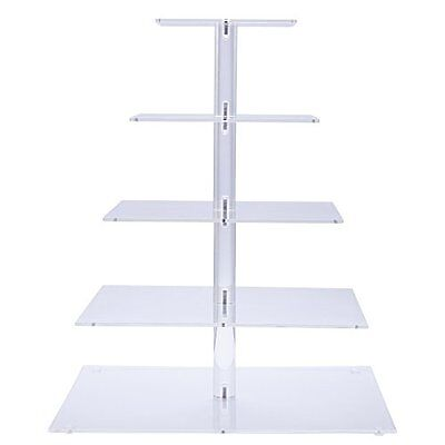 Premium Five 5-Tier Crystal Clear Acrylic Glass Square Wedding Cake Stand Cupcak