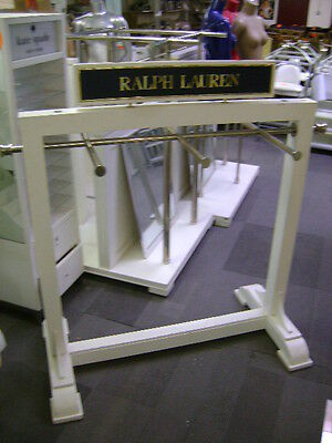 Ralph Lauren White Wood And Chrome Clothing Garment Rack