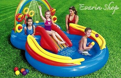 Inflatable Water Slide Swimming Pool Sprayer Free Ball Kids Backyard -Outdoor