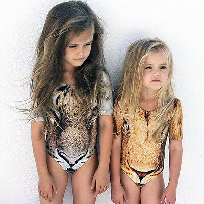 Children Baby Girls Leopard Print Swimsuit Swimwear Bathing Suit Swimmable 2-7Y