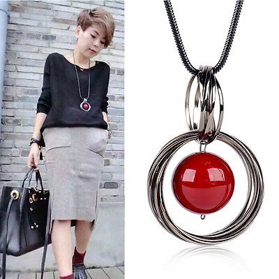Fashion Circle Red Pearl Pendant Statement Long Chain Sweater Necklace Jewelry