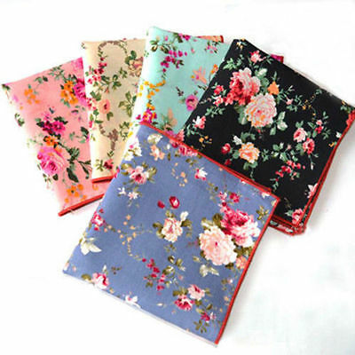 Men Vintage Flower Polka Dots Cotton Wedding Handkerchief Pocket Square Hanky