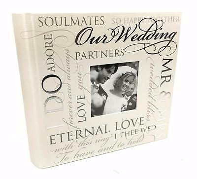 "Large Wedding Photo Album 80 5x7"" with sentimental verse design Gift 60961"