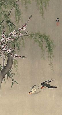 Japanese Reproduction Woodblock Print 11 Ohara Koson on Cream Parchment Paper.